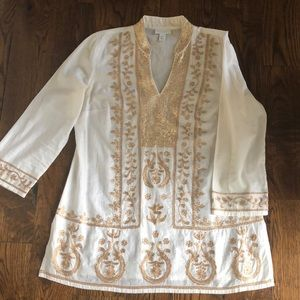 Charter Club Embroidered Sequined tunic shirt top